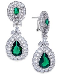 Joan Boyce Silver Tone Double Teardrop Crystal Drop Earrings Emerald