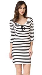 Hatch The Lace Up Body Dress Black White Stripe