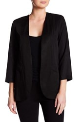 Harlowe And Graham Open Front 3 4 Sleeve Easy Blazer Black