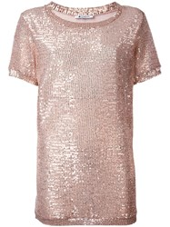 Dondup Sequin Embellished T Shirt Nude Neutrals