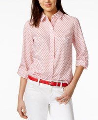 Tommy Hilfiger Cotton Anchor Print Roll Tab Shirt Only At Macy's Azalea Multi