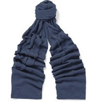 John Smedley Helden Cashmere And Silk Blend Scarf Blue