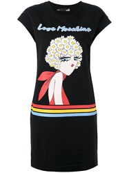 Love Moschino Logo Print T Shirt Dress Black