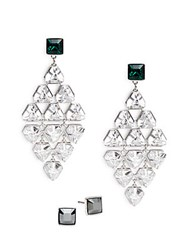 Swarovski Bright Crystal Drop Earrings Silver