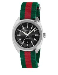 Gucci Analog Gg2570 Classic Stainless Steel Web Nylon Strap Watch Green Red
