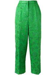 Rochas Floral Motif Cropped Trousers Green