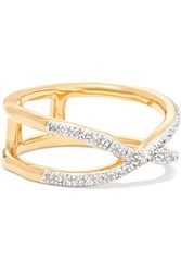 Monica Vinader Riva Wave Cross Gold Vermeil Diamond Ring M
