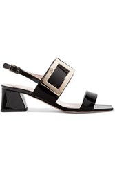 Roger Vivier Gommettine Patent Leather Slingback Sandals Black