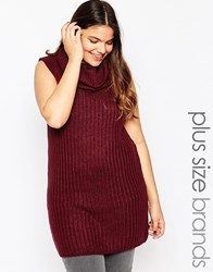 Brave Soul Plus Chunky Knit Sleeveless Cowl Neck Long Line Jumper Damson