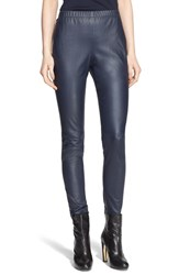 Women's St. John Collection Crop Nappa Leather Leggings Bright Navy