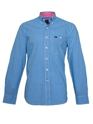 Raging Bull Signature Gingham Long Sleeve Button Down Shirt Cobalt