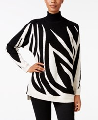 Charter Club Petite Cashmere Zebra Print Sweater Only At Macy's Classic Black