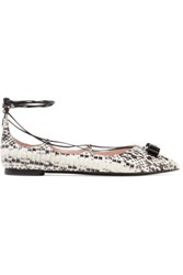 Salvatore Ferragamo Lace Up Python Point Toe Flats Ecru