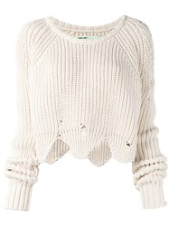 Off White Distressed Sweater Nude Neutrals
