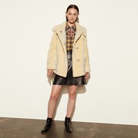 Coach Short Shearling Coat With Printed Lining Vintage White