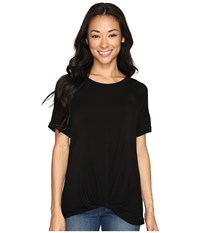 Allen Allen Twist Front Crew W Roll Hem Sleeves Black Women's T Shirt