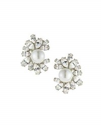 Kenneth Jay Lane Rhinestone Cluster Clip On Earrings W Faux Pearl Beads White