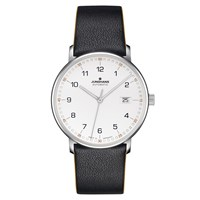 Junghans 027 4731.00 Men's Form Automatic Date Leather Strap Watch Black White
