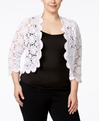Ny Collection Plus Size Crocheted Bolero Jacket White