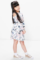 Boohoo Printed 3 4 Sleeve Belted Skater Dress Multi