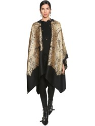 Etro Long Wool And Lame Jacquard Cape Black