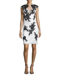 Sue Wong Cap Sleeve Lace Sheath Cocktail Dress Ivory