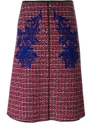 Marc Jacobs Tweed Skirt With Guipure Insets Red