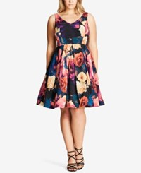 City Chic Trendy Plus Size Fit And Flare Dress Blue Teal