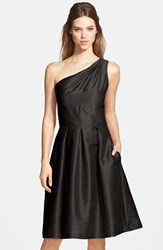 Women's Alfred Sung One Shoulder Dupioni Fit And Flare Dress Black