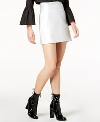 Glam Faux Leather Mini Skirt Silver
