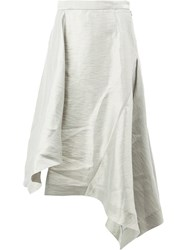Moohong Asymmetric Draped Skirt White