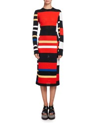 Proenza Schouler Variegated Stripe Long Sleeve Crochet Dress Multi