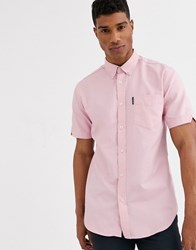 Ben Sherman Short Sleeve Plain Oxford Shirt Pink