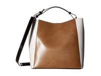 Frances Valentine June Medium Leather Color Blocked Hobo Taupe White Black Hobo Handbags Brown