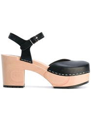Swedish Hasbeens Ankle Length Sandals Women Leather Rubber 37 Black