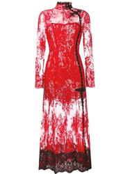 Alessandra Rich Lace Evening Dress Red