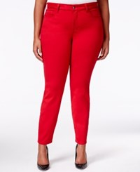 Nydj Plus Size Alina Jeggings Colored Wash Cardinal Red