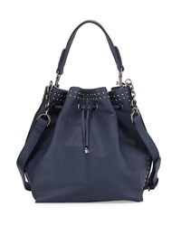 Neiman Marcus Studded Trim Bucket Hobo Bag Navy