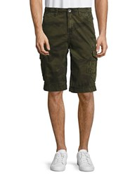 True Religion Trooper Patch Camouflage Printed Shorts Militant Green