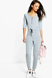 Boohoo Kitty Zip Front Drawcord Lounge Jumpsuit Grey