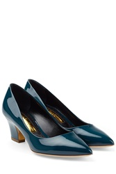 Rupert Sanderson Patent Leather Kitten Heel Pumps Blue
