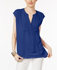 Inc International Concepts Cap Sleeve Contrast Top Only At Macy's Goddess Blue