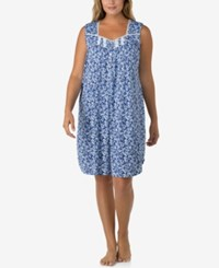 Eileen West Plus Size Lace Trimmed Printed Nightgown Indigo Print