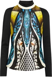 Peter Pilotto Amra Printed Silk Blend Turtleneck Top