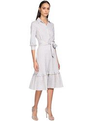 Luisa Beccaria Cotton And Lurex Shirt Dress Ivory