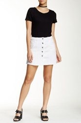 Jolt Seamed Denim Mini Skirt White