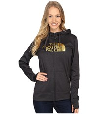 The North Face Fave Half Dome Full Zip Hoodie Tnf Dark Grey Heather Gold Foil Women's Sweatshirt Black