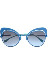 Fendi Butterfly Frame Metal Sunglasses Blue