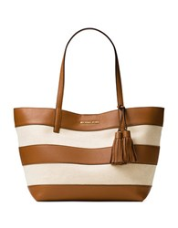 Michael Michael Kors Striped Coated Canvas Large East West Tote Natural Acorn