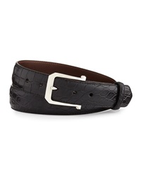 W.Kleinberg Matte Alligator Belt With 'The Paisley' Buckle Black Made To Order
